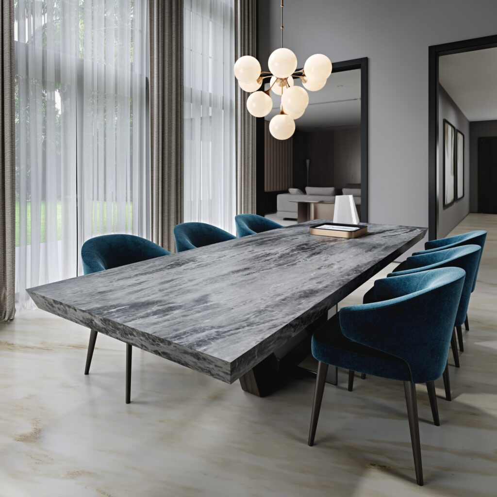 Princess grey dining table & Linee D'oro-min