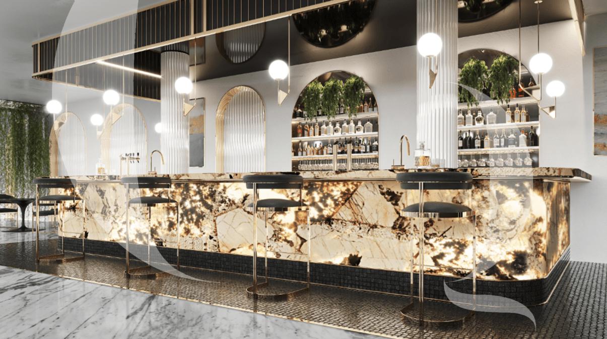 Accendo Bar Counter Designed-The Quarry Gallery,Best italian Marble company in Mumbai