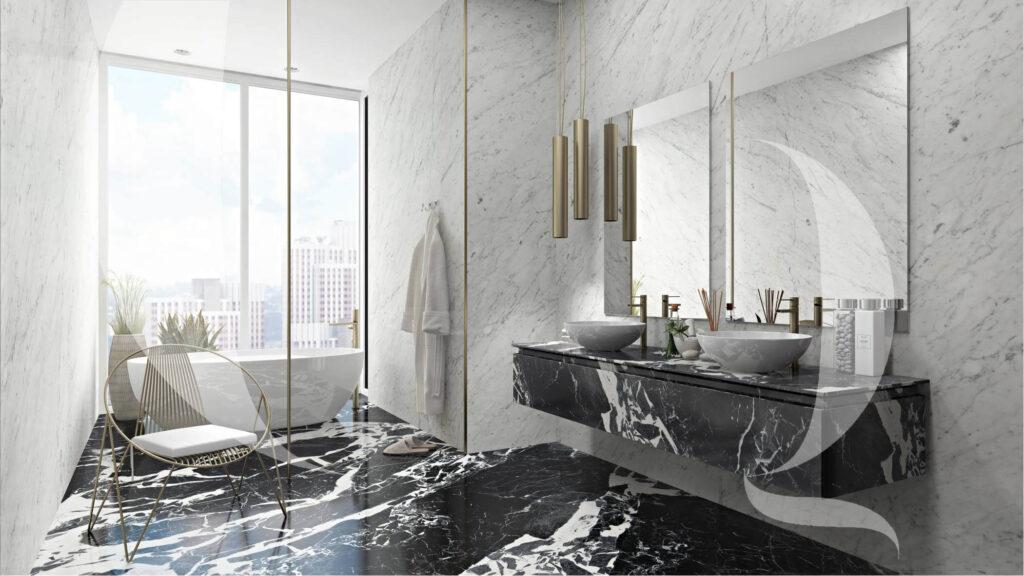 The Quarry Curated Grand Antique Noir Bathroom Countertop-Italian marble company | Mumbai | India
