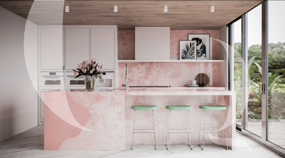 The Quarry - Pink Onyx Dry Kitchen Counter