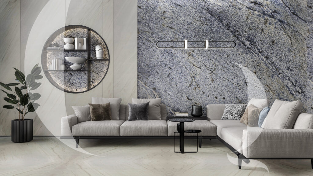 Azul Montagna and Bianco lasa_ living room